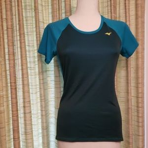 Mizuno Womens Running Shirt Blue with Mesh Back